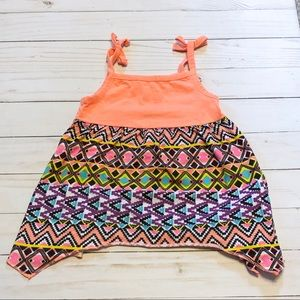 Aztec tank top with lace detail
